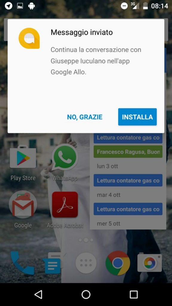 """Al destinatario arriverà una notifica push """"particolare"""" che permette di rispondere al messaggio anche senza installare l'applicazione."""